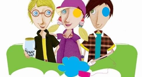 Tegning af børn med klap for øjet
