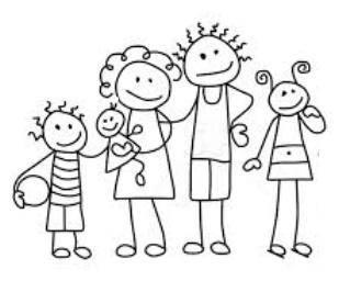 Stregtegning af familie